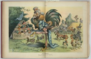 Caption: Europe -- You're not the only rooster in South America! Uncle Sam -- I was aware of that when I cooped you up!
